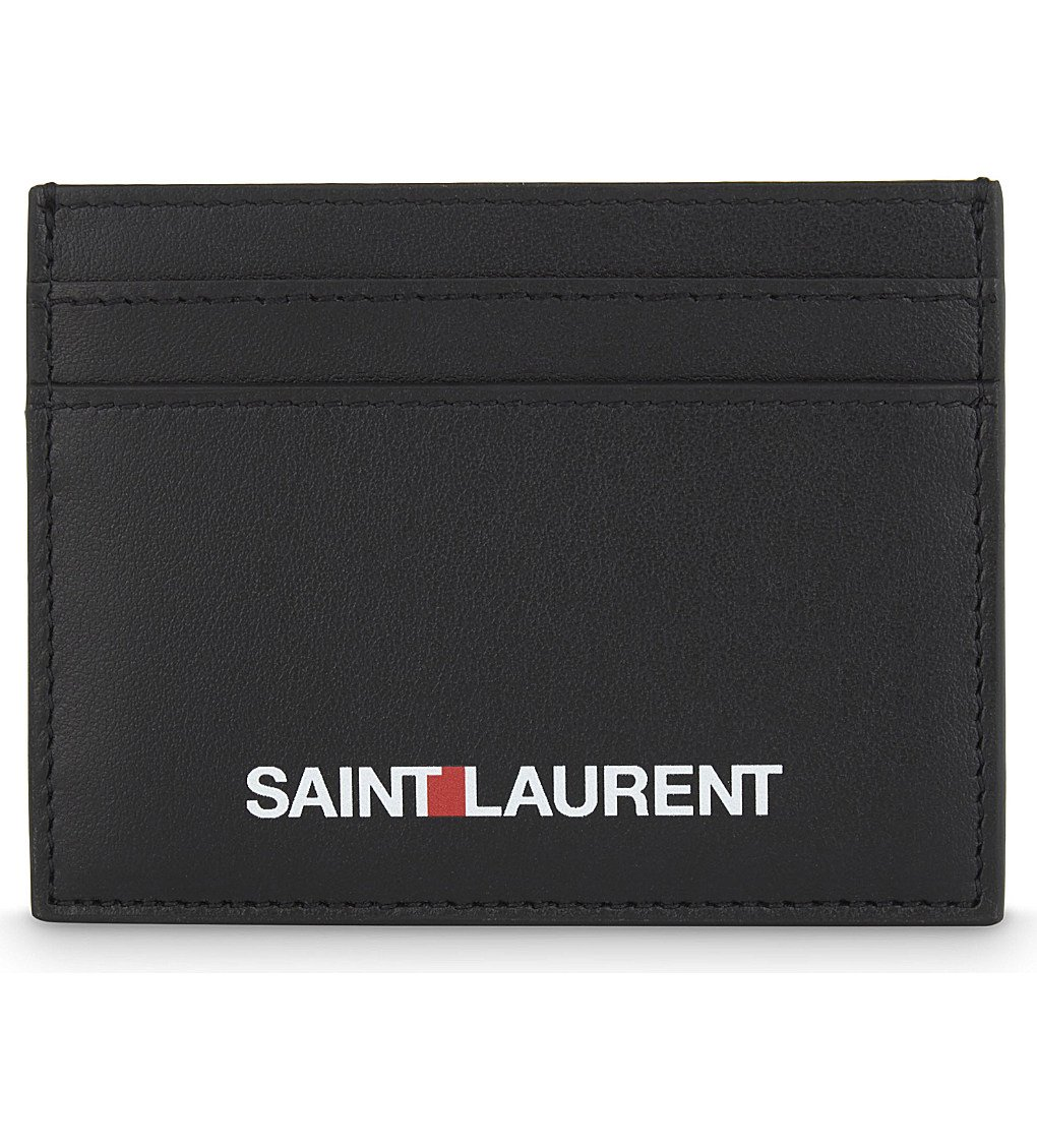 SAINT LAURENT Logo Leather Card Holder