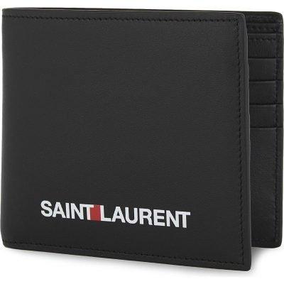 SAINT LAURENT Sport Logo Leather Billfold Wallet