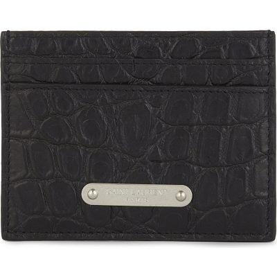 SAINT LAURENT Plaque Croc-embossed Leather Card Holder