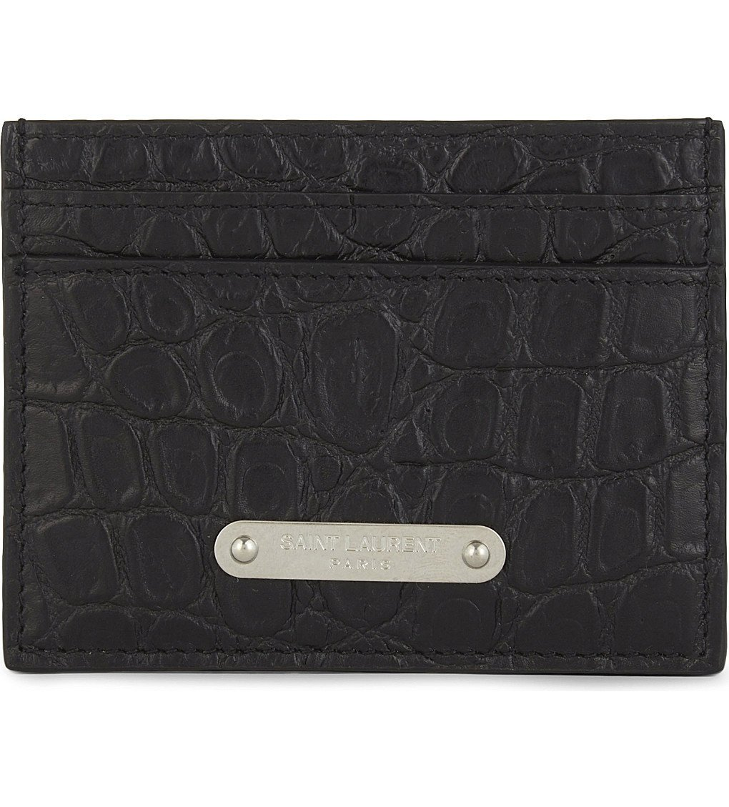 SAINT LAURENT Plaque Croc-embossed Leather Card Holder