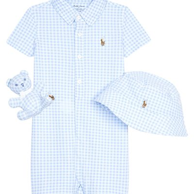 RALPH LAUREN Gingham Cotton Three-piece Baby Set 3-6 Months