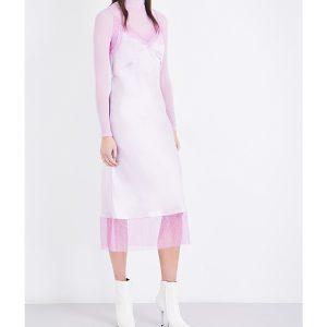 WALK OF SHAME Lace-trim Silk-satin Slip Dress