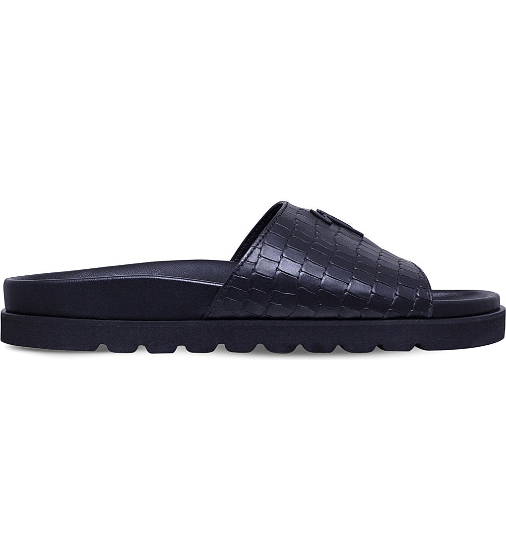 GIUSEPPE ZANOTTI Crocodile-embossed Leather Pool Slides