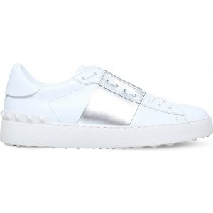 VALENTINO Open Metallic-trim Leather Trainers