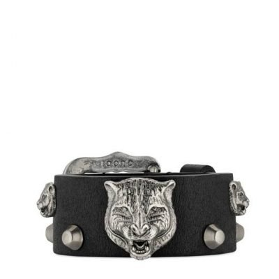 Leather Bracelet With Feline Heads