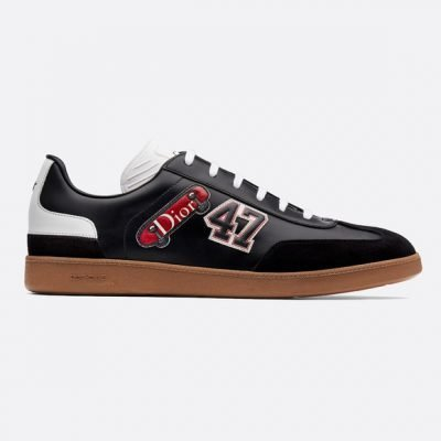 B01 Sneaker In Black Calfskin With Multiple Patches
